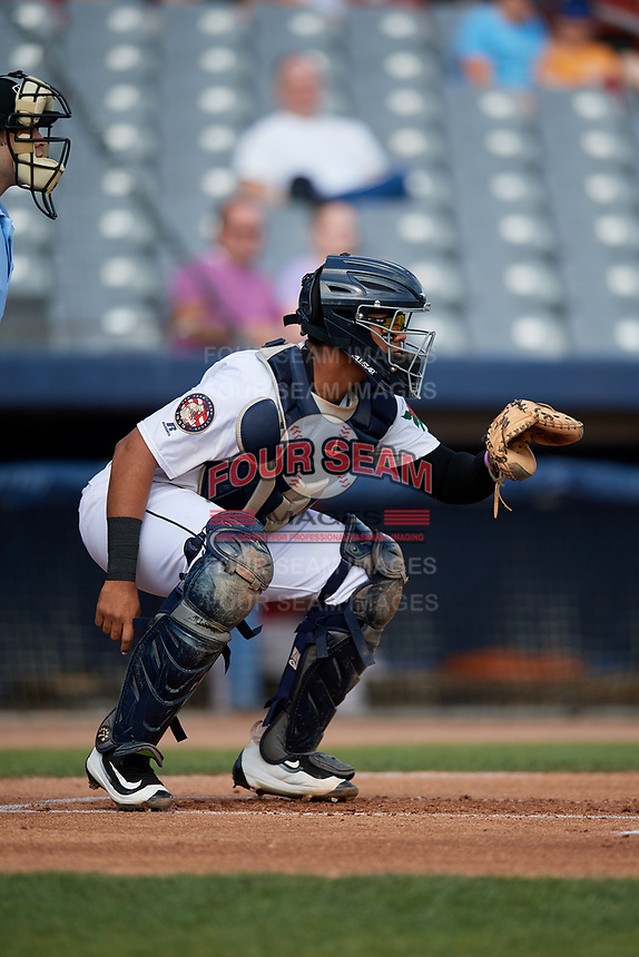 Connecticut Tigers catcher Moises Nunez (20) waits to receive a pitch during a game against the Lowell Spinners on August 26, 2018 at Dodd Stadium in Norwich, Connecticut.  Connecticut defeated Lowell 11-3.  (Mike Janes/Four Seam Images)