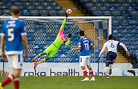 Game changing save from Goalkeeper Jamal Blackman (on loan from Chelsea) of Wycombe Wanderers during the FA Cup 1st round match between Portsmouth and Wycombe Wanderers at Fratton Park, Portsmouth, England on the 5th November 2016. Photo by Liam McAvoy.