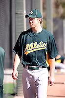 Trystan Magnuson #64 of the Oakland Athletics participates in spring training workouts at the Athletics complex on February 16, 2011  in Phoenix, Arizona. .Photo by:  Bill Mitchell/Four Seam Images.