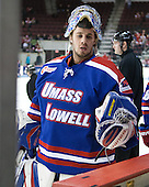 Brian Robbins (UML - 30) - The visiting University of Massachusetts Lowell River Hawks defeated the Boston University Terriers 3-0 on Friday, February 22, 2013, at Agganis Arena in Boston, Massachusetts.