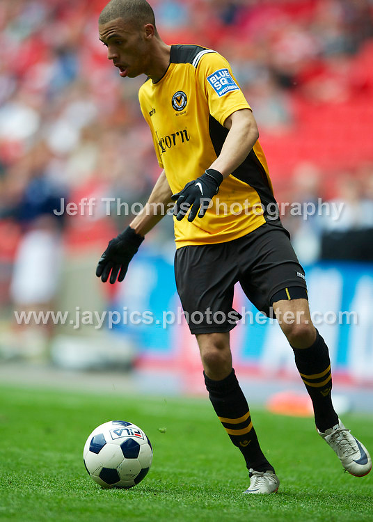 Newports goal scorer Christian Jolley in action during the Newport County v Wrexham Blue Sq. Bet Premier league playoff final at Wembley Stadium, London, England Sunday 5th May 2013. Credit for pictures to Jeff Thomas Photography - www.jaypics.photoshelter.com - 07837 386244 - Use of images are restricted without prior permission of the copyright owner Jeff Thomas Photography.