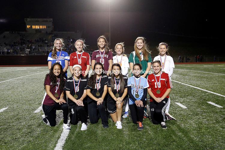 Naugatuck, CT- 03 November 2016-110316CM14- Here is the All NVL girls soccer team for 2016. Front row left to right: Alyana Sosa, Naugatuck; Haley Andrews, Gillian Hotchkiss, Samantha Plasky, Woodland; Rache; Vedeira, Oxford; Taylor Riviezzo, Wolcott. Back row, left to right: Kendall Davis, St. Paul Catholic; Megan Doubleday, Wolcott; Kyla Magalhaes, Naugatuck; Meadow Mancini, Watertown; Kiley Harnish, Holy Cross; Emma Zaccagnini, Watertown. Doubleday was selected the league's Most Outstanding senior. Christopher Massa Republican-American