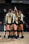 The Wake Forest Demon Deacons huddle up prior to the start of their match against the USC Upstate Spartans in the LJVM Coliseum on September 9, 2017 in Winston-Salem, North Carolina.  The Demon Deacons defeated the Spartans 3-2.   (Brian Westerholt/Sports On Film)