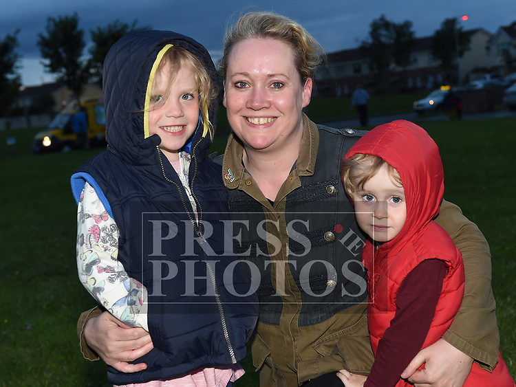 Iona NíScoilaide, Aodha O'Scoilaide and Lisa McConnell at the outdoor cinema in Inse Bay Laytown. Photo:Colin Bell/pressphotos.ie