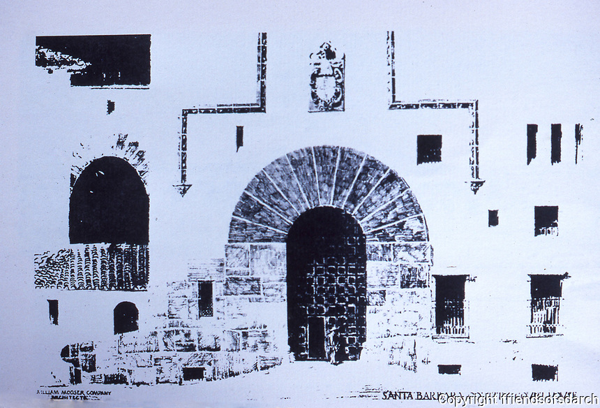 Drawing of Santa Barbara County Courthouse, William Mooser Co., Architects. Photo Dec. 1987.  Ref.