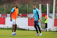 Costa Rica assistant manager Paulo Wanchope joins in during the training session ahead of tomorrow's fixture vs Greece