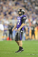 Jan. 4, 2010; Glendale, AZ, USA; TCU Horned Frogs kicker (37) Ross Evans against the Boise State Broncos in the 2010 Fiesta Bowl at University of Phoenix Stadium. Boise State defeated TCU 17-10. Mandatory Credit: Mark J. Rebilas-