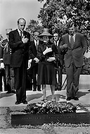 Arlington National Cemetery, Washington DC. May 17th, 1976. Valery Giscard D'Estaing, Edward and Rose Kennedy at the grave of John F. Kennedy.