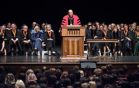 President Jonathan Veitch welcomes first-years. The class of 2021 are welcomed to Occidental College by trustees, faculty and staff in Thorne Hall on Aug. 29, 2017 during Oxy's 130th Convocation ceremony, a tradition that formally marks the start of the academic year and welcomes the new class.<br /> (Photo by Marc Campos, Occidental College Photographer)
