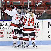 Maggie DiMasi (Northeastern - 4), Kendall Coyne (Northeastern - 77), Casey Pickett (Northeastern - 14) - The Northeastern University Huskies defeated the visiting Clarkson University Golden Knights 5-2 on Thursday, January 5, 2012, at Matthews Arena in Boston, Massachusetts.