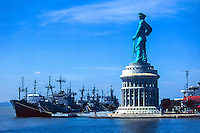 Java, East Java, Surabaya. Headquarters of the Indonesian navy (Angkatan Laut) in Surabaya. The Jalesveva Jayamahe monument is 30.8 m tall, standing on top of a 26.1 m high building.
