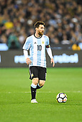 June 9th 2017, Melbourne Cricket Ground, Melbourne, Australia; International Football Friendly; Brazil versus Argentina; Lionel Messi of Argentina looks for options to pass to