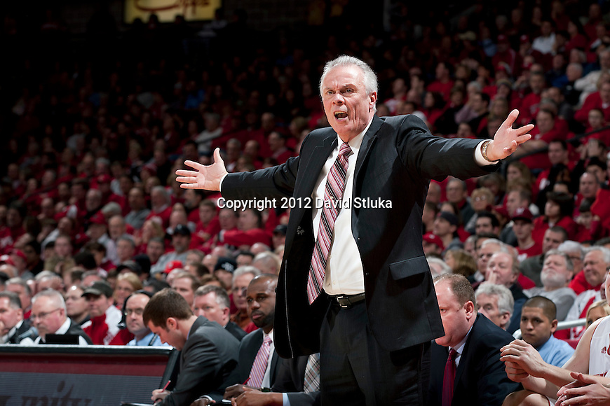 Wisconsin Badgers Head Coach Bo Ryan argues with a referee during a Big Ten Conference NCAA college basketball game against the Northwestern Wildcats on January 18, 2012 in Madison, Wisconsin. The Badgers won 77-57. (Photo by David Stluka)