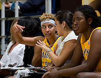 Layshia Clarendon of California talks with assistant coach Kai Felton during the game against St. Mary's at Haas Pavilion in Berkeley, California on November 15th, 2012.  California defeated St. Mary's, 89-41.