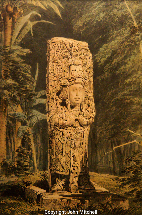 Lithograph entitled Idol at Copan by Frederick Catherwood in the Casa Catherwood in Merida, Yucatan, Mexico.