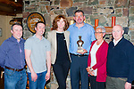 Sargent Gerard Lee, Beaufort celebrating his retirement from Killorglin Garda station with his family in the Beaufort Bar on Thursday night l-r: Ian McCarthy, Alan McCarthy, Aideen Ryan, Janet McCarthy and Derry McCarthy