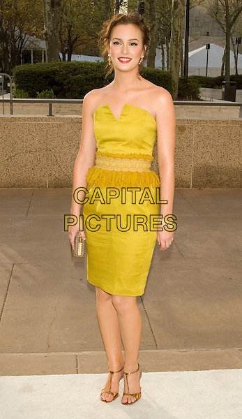 "LEIGHTON MEESTER.Opening Night of ""La Fille du Regiment"" at The Metropolitan Opera, Lincoln Center, New York, NY, USA..April 21st, 2008.full length gold yellow green strapless dress clutch bag purse .CAP/LNC/TOM.©TOM/LNC/Capital Pictures."