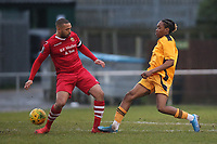 Lewwis Spence of Hornchurch and O'Shane Stewart of Merstham during Hornchurch vs Merstham, BetVictor League Premier Division Football at Hornchurch Stadium on 15th February 2020
