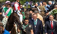 ELMONT, NY - JUNE 10: Antonoe #7, ridden by Javier Castellano, is led to the winner's circle by trainer Chad Brown (R) after winning the Longines Just a Game Stakes on Belmont Stakes Day at Belmont Park on June 10, 2017 in Elmont, New York (Photo by Sue Kawczynski/Eclipse Sportswire/Getty Images)