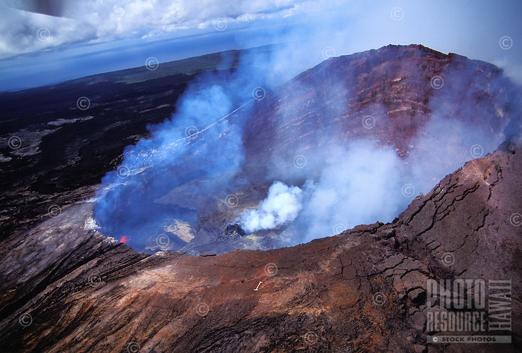 Steam rising from the Kilauea volcano vent or puu oo
