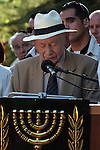 Ben Tzion Netanyahu, father of Israeli Prime Minister Benjamin Netanyahu, speaks at the memorial service for his son, Yoni Netanyahu at Mt. Hertzel in Jerusalem, Sunday, June 28, 2009. Lieutenant Colonel Yoni Netanyahu, Israel's Prime Minister's brother, was killed during a rescue mission in Entebbe, Uganda in 1976, where hijacked Israelis and Jewish passengers from an Air France flight were held hostage. Photo By: Tess Scheflan / JINI