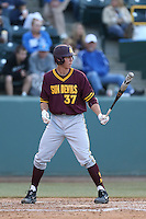 Colby Woodmansee #37 of the Arizona State Sun Devils bats against the UCLA Bruins during a game at Jackie Robinson Stadium on March 28, 2014 in Los Angeles, California. UCLA defeated Arizona State 7-3. (Larry Goren/Four Seam Images)