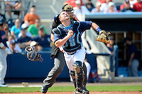 Tampa Bay Rays catcher Stephen Vogt #26 during a Grapefruit League Spring Training game against the Boston Red Sox at Charlotte County Sports Park on February 25, 2013 in Port Charlotte, Florida.  Tampa Bay defeated Boston 6-3.  (Mike Janes/Four Seam Images)