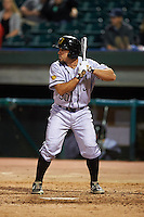 Jacksonville Suns third baseman Zack Cox (20) at bat during a game against the Chattanooga Lookouts on April 30, 2015 at AT&T Field in Chattanooga, Tennessee.  Jacksonville defeated Chattanooga 6-4.  (Mike Janes/Four Seam Images)