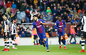 7th January 2018, Camp Nou, Barcelona, Spain; La Liga football, Barcelona versus Levante; Suarez from FC Barcelona celebrating his  goal and Barca's 2nd in the 38th minute