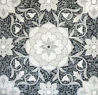 Aurelia, a stone hand-cut mosaic, is shown in Thassos, Afyon White, Allure, Carrara polished.
