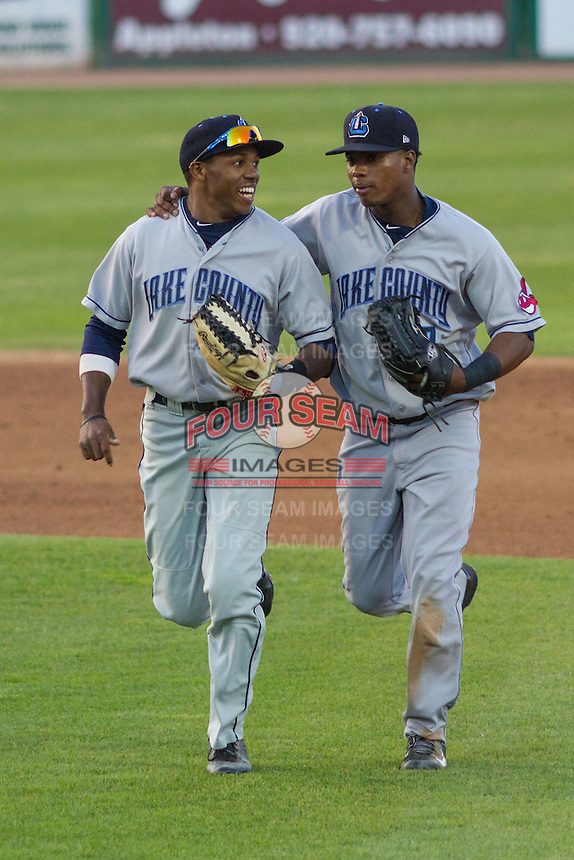Lake County Captains outfielder Greg Allen (6) and outfielder Dorssys Paulino (17) during a Midwest League game against the Wisconsin Timber Rattlers on June 3rd, 2015 at Fox Cities Stadium in Appleton, Wisconsin. Wisconsin defeated Lake County 3-2. (Brad Krause/Four Seam Images)