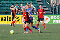 Rochester, NY - Friday May 27, 2016: Western New York Flash defender Abigail Dahlkemper (13) and Boston Breakers midfielder Kristie Mewis (19). The Western New York Flash defeated the Boston Breakers 4-0 during a regular season National Women's Soccer League (NWSL) match at Rochester Rhinos Stadium.