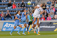 Chicago, IL - Saturday July 30, 2016: Vanessa DiBernardo, Mandy Laddish during a regular season National Women's Soccer League (NWSL) match between the Chicago Red Stars and FC Kansas City at Toyota Park.