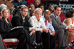 Wisconsin Badgers staff, from left to right, Stephanie Janke, John Barens, Lisa Stone, Oties Epps, and Ty Margenthaler look on during an NCAA college women's basketball game against the Duke Blue Devils during the ACC/Big Ten Challenge at the Kohl Center in Madison, Wisconsin on December 2, 2010. Duke won 59-51. (Photo by David Stluka)