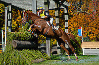 Sir Donovan, with rider Katie Ruppel (USA), competes during the Cross Country test during the Fair Hill International at Fair Hill Natural Resources Area in Fair Hill, Maryland on October 20, 2012.
