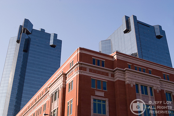 City Center Towers stand behind the Tarrant County Family Law Center in downtown Fort Worth, Texas.