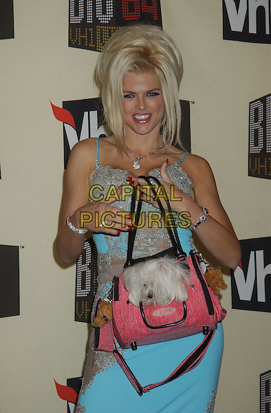 Dec 01, 2004; Los Angeles, California, USA; Anna Nicole Smith and her dog 'Marilyn' as in Monroe during VH1 Big in '04 held at the Shrine Auditorium. Mandatory Credit: Photo by Laura Farr/AdMedia. (©) Copyright 2004 by Laura Farr ...www.capitalpictures.com.sales@capitalpictures.com.© Capital Pictures.