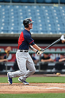 Michael Brown (8) of Wando High School in Mount Pleasant, South Carolina playing for the Cleveland Indians scout team during the East Coast Pro Showcase on July 31, 2014 at NBT Bank Stadium in Syracuse, New York.  (Mike Janes/Four Seam Images)