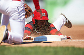 Batavia Muckdogs shortstop Samuel Castro (25) slides head first into third base during a game against the Auburn Doubledays on September 5, 2016 at Dwyer Stadium in Batavia, New York.  Batavia defeated Auburn 4-3. (Mike Janes/Four Seam Images)