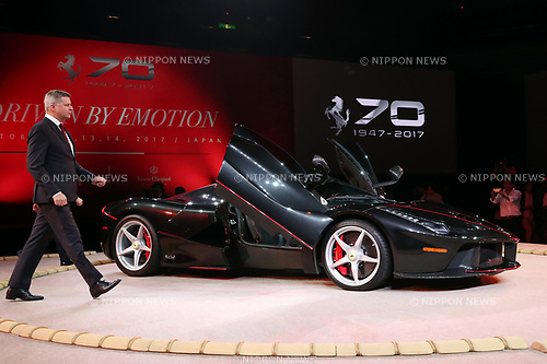 "October 12, 2017, Tokyo, Japan - Italian sports car maker Ferrari Far and Middle East CEO Dieter Knechtel  dislpays ""LaFerrari Aperta"" to celebrate Ferrari's 70th anniversary event at Tokyo's Kokugikan sumo gymnasium on Thursday, Octoebr 12, 2017. Ferrari also displayed 40 sports cars outside of the Kokugikan.   (Photo by Yoshio Tsunoda/AFLO) LWX -ytd"