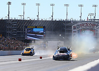 Oct 29, 2017; Las Vegas, NV, USA; NHRA funny car driver Del Worsham (right) defeats J.R. Todd during the Toyota National at The Strip at Las Vegas Motor Speedway. Mandatory Credit: Mark J. Rebilas-USA TODAY Sports