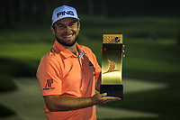 Tyrrell Hatton (ENG) with the trophy after the final round of the Turkish Airlines Open, Montgomerie Maxx Royal Golf Club, Belek, Turkey. 10/11/2019<br /> Picture: Golffile | Phil INGLIS<br /> <br /> <br /> All photo usage must carry mandatory copyright credit (© Golffile | Phil INGLIS)