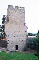The Tower. Domaine La Tour Boisee. In Laure-Minervois. Minervois. Languedoc. France. Europe.