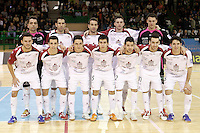 Caja Segovia's David Ruiz, Pablo del Moral, Victor Paez, Jesus Murga, Antonito Sierra, Alejandro Palomeque, Borja Diaz, Sergio Gonzalez, Jose Carlos Lopez, Fabian Robledo, Alberto Sanz and Jesus Herrero during Spanish National Futsal League match.November 24,2012. (ALTERPHOTOS/Acero) /NortePhoto