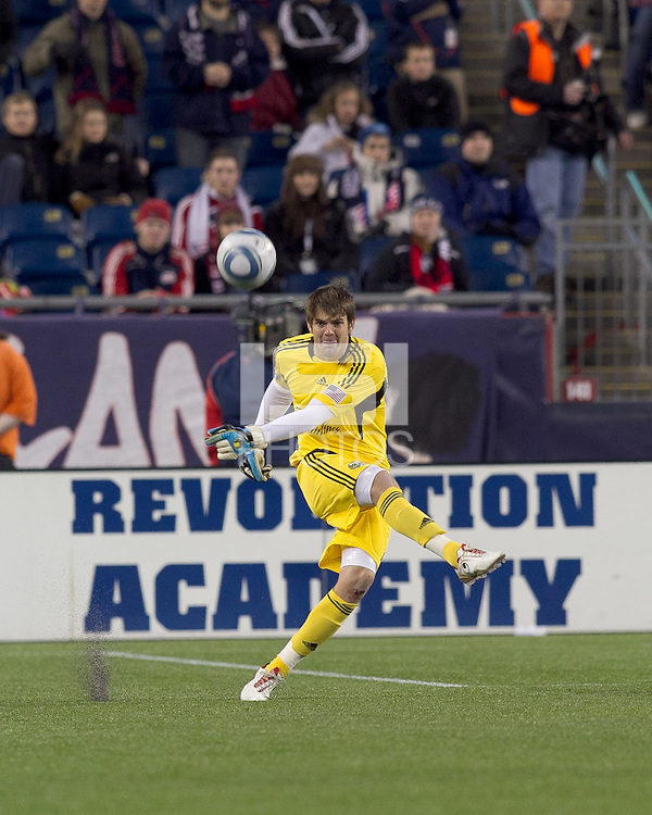 Portland Timbers goalkeeper Jake Gleeson (20). In a Major League Soccer (MLS) match, the New England Revolution tied the Portland Timbers, 1-1, at Gillette Stadium on April 2, 2011.