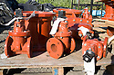 Gate valves awaiting use in water pipeline. The cities of Palo Alto and Mountain View are jointly constructing a reclaimed water pipeline to carry recycled water from the Palo Alto Regional Water Quality Control Plant to customers along East Bayshore Parkway and Mountain View's North Bayshore area.