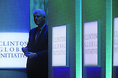 Former United States President Bill Clinton, right, listens after introducing U.S. President Barack Obama, Clinton Global Initiative gathering Wednesday, September 21, 2011 at the Sheraton New York Hotel and Towers in New York, New York..Credit: Aaron Showalter / Pool via CNP