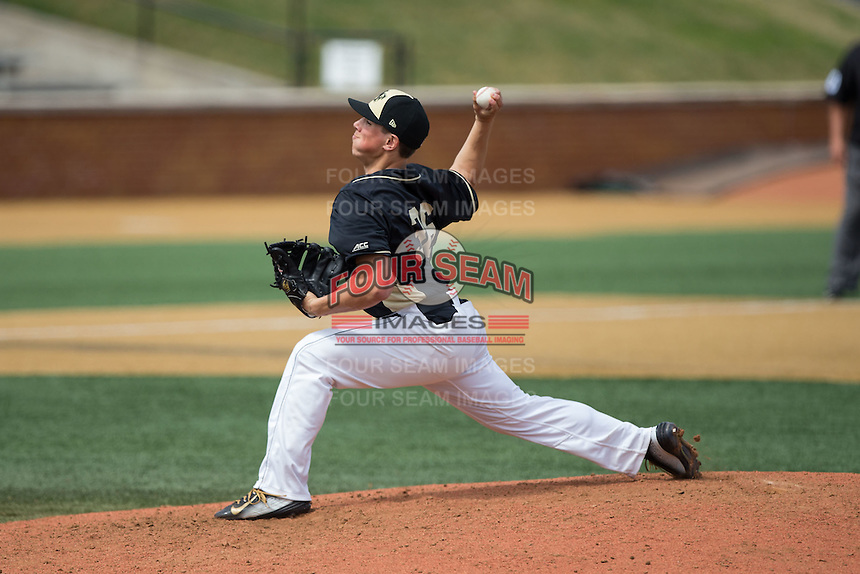 Wake Forest Demon Deacons relief pitcher Parker Dunshee (36) delivers a pitch to the plate against the Miami Hurricanes at Wake Forest Baseball Park on March 22, 2015 in Winston-Salem, North Carolina.  The Demon Deacons defeated the Hurricanes 10-4.  (Brian Westerholt/Four Seam Images)
