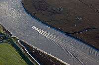 aerial photograph power boat, Petaluma River, Sonoma county, California