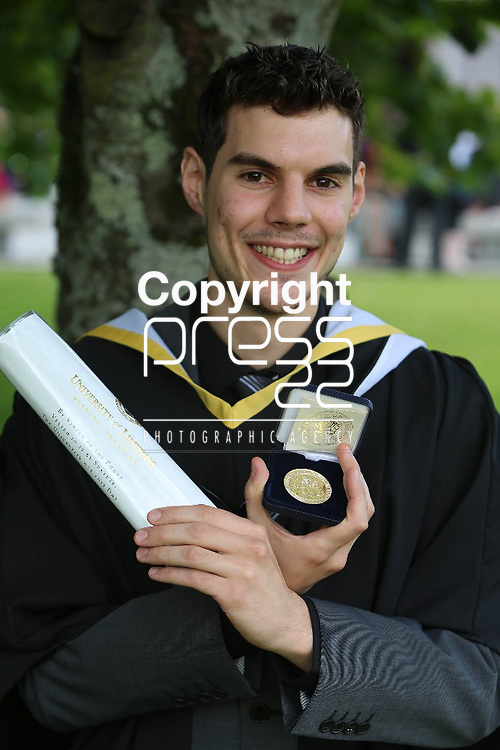 31/August/2012  Attending the University of Limerick conferrings on Friday afternoon was Maurice Nolan, Caragh, Naas, Co.Kildare who was conferred with a BA European Studies with First Class Honours. Mr Nolan also received the Gold Medal for achieving First Place Overall, Class of 2012. Photograph Liam Burke/Press 22
